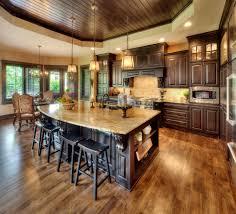 Enchanting Dark Brown Mahogany Wood Floor In Kitchen Twin Pendant - Wood floor in kitchen