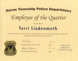 Employee Of The Quarter Certificate Police Dispatcher Presented With Employee Of The Quarter