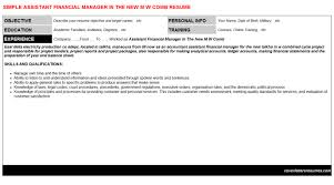 Assistant Financial Manager In The New M W Comb Resume & Cover ...