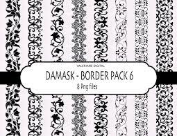 2286 Traditional Stencil Designs Pdf Damask Digital Clipart Border Digital Ribbon Border Clip