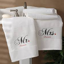 Personalized Cotton Bath Towel Set Mr and Mrs Collection