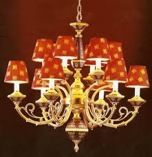 red lampshade chandelier 3