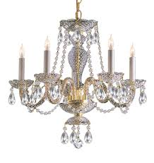 5 lights polished brass crystal chandelier