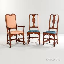 Turned And Carved Queen Anne Armchair Pair Of Matching Side Chairs Queen Anne Armchair A5