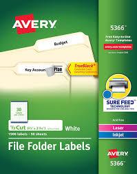 Avery File Folder Labels 5366 Template Avery Permanent Self Adhesive Laser Ink Jet File Folder Labels White 1 500 Per Box