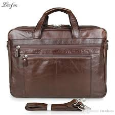 men s genuine leather briefcase 17 big real leather laptop tote bag cow business bag double layer travel messenger 627566