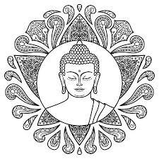 Kleiner Comic Mönch Auf Dem Lotus Seite Für Malbuch Lizenzfrei