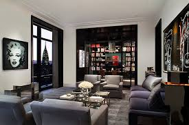 ... Spectacular view of NYC Skyline adds to the appeal of the living room [ Design:
