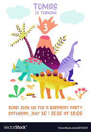Dinosaur Birthday Invitation Baby Birthday Invitation Card With Funny Dinosaur