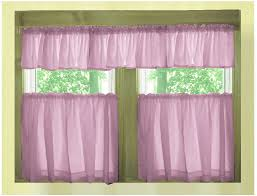 solid violet purple café style tier curtain includes 2 valances and 2 kitchen curtain panels in many custom lengths