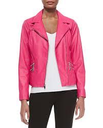 neiman marcus leather moto jacket w zip pockets hot pink