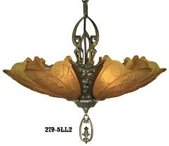 vintage hardware lighting art deco chandeliers fixtures slip shade meval family 5 light chandelier 279 5ll1
