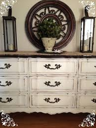 antique white chalk paintDistressed Old White Chalk Paint and Clear Soft Wax on Dresser