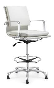 modern white drafting chair leather seat and back upholstery thick