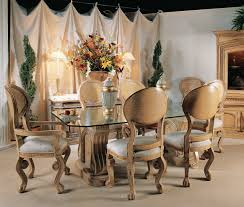 dining room craving brown wooden base with rectangle glass top combined with brown wooden chairs