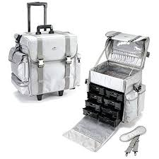 rolling case with drawers inch soft nylon professional artist rolling wheeled trolley makeup train case cosmetic