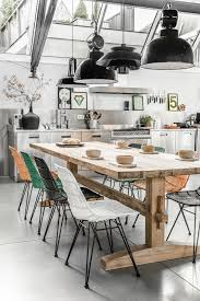 modern dining room decorating ideas interior design colorful chairs rustic table and industrial