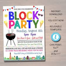 Block Party Flyer Editable Neighborhood Block Party Invite Printable Invitation Bbq Picnic Summer Party Announcement Card Digital Flyer Instant Download
