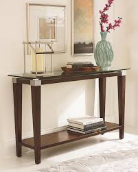 contemporary sofa table with glass top by hammary  wolf and