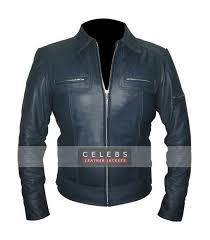 designer mens navy blue leather jacket designer