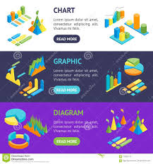 Charts And Graphs Banner Horizontal Set 3d Isometric View