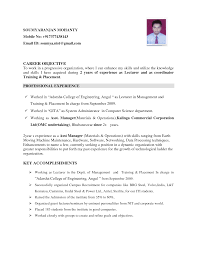 Career Objective In Resume For Experienced Software Engineer