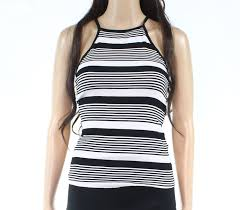 Papermoon Size Chart Details About Papermoon Womens Top Black White Size Large L Striped Crewneck Cami 32 283