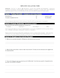 Employee Performance Assessment Examples Employee Performance Evaluation Template Annual Review Forms