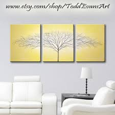 wall art yellow painting wall decor 3 piece canvas art tree of life paintings original painting on grey and mustard yellow wall art with yellow wall decor my web value