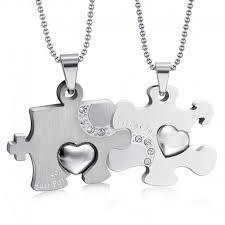 double collar pendant necklace couple