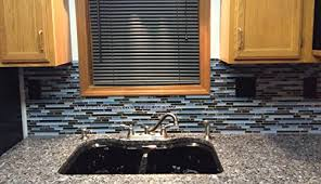 Granite With Backsplash Magnificent Laguna Blue Random Pattern Glass Tile Granite Tile Color Black