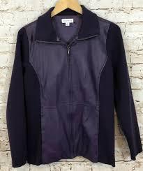 details about susan graver faux leather jacket women medium stretch knit purple zip up coat ho