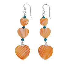 jay king turquoise and orange spiny oyster s heart earrings 8634129 hsn