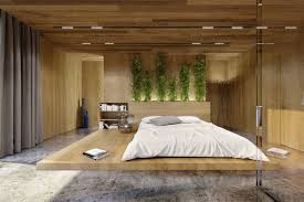bedroom green plant accent wall wooden platform bed modern wood panel accent wall grey curtain white