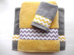 Bathroom Towel Decor Pick Your Size Towel Yellow And Grey Towels Gray And Yellow