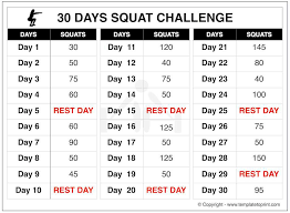 24 Day Challenge Chart Squat Challenge 30 Day Printable Chart For Beginners