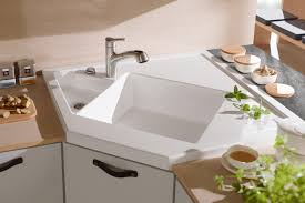 Corner Kitchen Sink Cabinets Sinks Faucets Stunning Corner Top Mount Stainless Steel Double