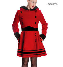 sentinel hell bunny 50s vintage rockabilly winter coat sofia bright red black all sizes