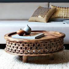 west elm round carved wood coffee table