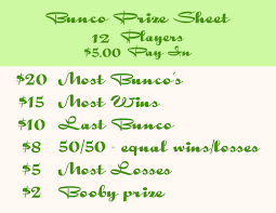 Bunco Payout Chart 10 Reference For Bunco Prizes I Like A 10 Or 20 Buy In