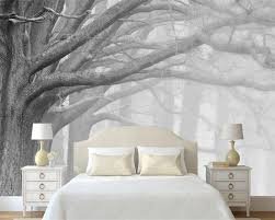 Beibehang Schwarz Und Weiß Wald Baum Kunst Hintergrund Wand Malerei