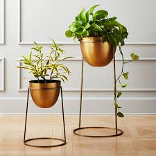 milo brass planters on stands