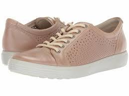 ecco soft 7 trend tie powder pink full grain leather sneaker shoe 40eu 9 new