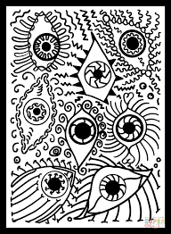Small Picture Psychedelic Pattern with Eyes coloring page Free Printable