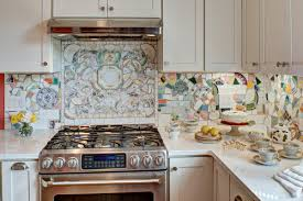 8. Mosaic pieces from broken china. Pieces of china and tile set the tone  for this cottage-style kitchen. China can be found at secondhand stores, ...