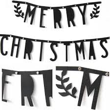 1Set Black Non-woven Fabric Banners <b>Merry Christmas</b> Flags ...