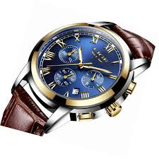 details about blue face fashion casual mens watch with leather band chronograph men sports wat
