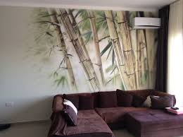 Wall Mural For Living Room Bamboo Airbrush On The Wall Mural In Living Room Tools Iwata