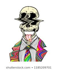 hand drawn portrait of a strange handsome man with psychedelic skull and tongue out with