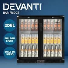 devanti bar fridge 2 glass door mini